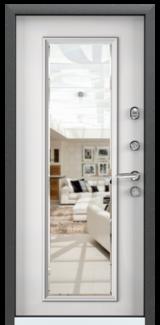 Дверь Torex Super Omega-10 Черный шелк RP1 Белый RS10 с зеркалом