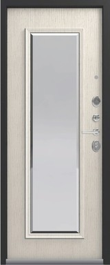 Дверь Легион L-1 (с зеркалом) Серебро  Патина крем