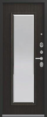 Дверь Легион L-1 (с зеркалом) Черный муар  Орех премиум