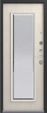 Дверь Легион L-1 (с зеркалом) Черный муар  Патина крем