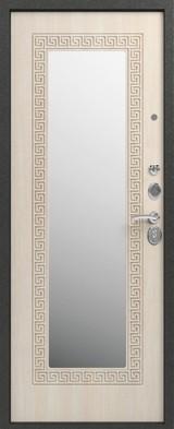 Дверь Сибирь S-4 (с зеркалом) Черный муар  Седой дуб