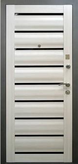 Дверь Алмаз 11 Сатин графит  Кипарис белый (эко-шпон) Сидней царга