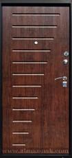 Дверь Алмаз Черный шелк / Синий металлик H-5 Тиковое дерево №14