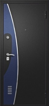 Дверь Алмаз H Черный шелк / Синий металлик H-7 Белый шелк №74