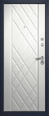 Дверь Алмаз Циркон Синий сатин  Белый шелк №161