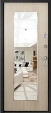 Дверь Ретвизан Медея 311 Черный сатин  Лиственница светлая №101Z (Зеркало)