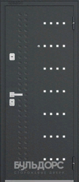 Дверь Бульдорс 44 Черный шелк R-14 Бетон серый N-11