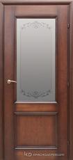 Дверь Краснодеревщик 33 24 (стекло Денор) с фурнитурой, Кофе натуральный шпон