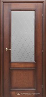 Дверь Краснодеревщик 33 24 (стекло Кристалл) с фурнитурой, Кофе натуральный шпон