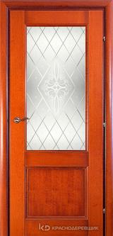 Дверь Краснодеревщик 33 24 (стекло Роса) с фурнитурой, Бразильская груша натуральный шпон