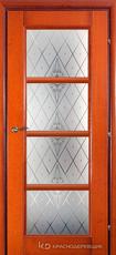 Дверь Краснодеревщик 33 40 (стекло Роса) с фурнитурой, Бразильская груша натуральный шпон