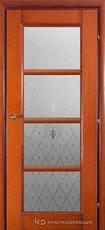 Дверь Краснодеревщик 33 40 (стекло  Торшон) с фурнитурой, Бразильская груша натуральный шпон