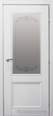 Дверь Краснодеревщик 33 24 (стекло Денор) с фурнитурой, Эмаль белая натуральный шпон