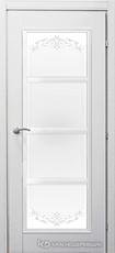 Дверь Краснодеревщик 33 40 (стекло Денор) с фурнитурой, Эмаль белая натуральный шпон