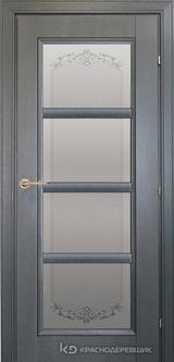 Дверь Краснодеревщик 33 40 (стекло Денор) с фурнитурой, Эмаль серая натуральный шпон