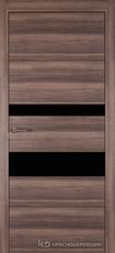 Дверь Краснодеревщик 7 03 (стекло Черное) с фурнитурой, Дуб темный sincrolam
