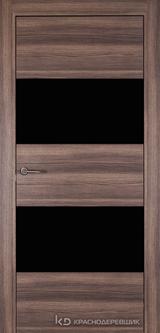 Дверь Краснодеревщик 7 05 (стекло Черное) с фурнитурой, Дуб темный sincrolam