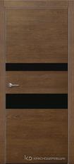 Дверь Краснодеревщик 703 (стекло черное) с фурнитурой, натуральный шпон Дуб кофе