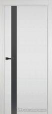 Дверь Краснодеревщик 701 (стекло серое) с фурнитурой, натуральный шпон Эмаль белая