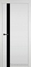 Дверь Краснодеревщик 701 (стекло черное) с фурнитурой, натуральный шпон Эмаль белая