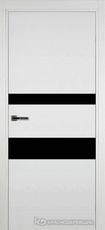 Дверь Краснодеревщик 703 (стекло черное) с фурнитурой, натуральный шпон Эмаль белая