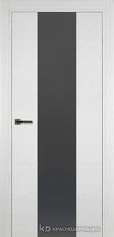 Дверь Краснодеревщик 7 04 (стекло серое) с фурнитурой, Эмаль белая натуральный шпон