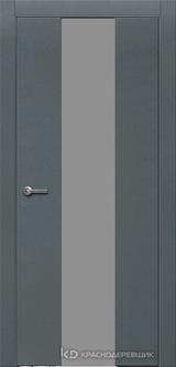 Дверь Краснодеревщик 7 04 (стекло серое) с фурнитурой, Эмаль серая натуральный шпон