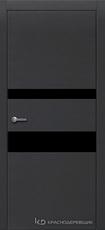 Дверь Краснодеревщик 703 (стекло черное) с фурнитурой, натуральный шпон Эмаль черная
