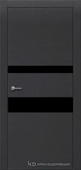 Дверь Краснодеревщик 7 03 (стекло черное) с фурнитурой, Эмаль черная натуральный шпон
