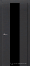 Дверь Краснодеревщик 704 (стекло черное) с фурнитурой, натуральный шпон Эмаль черная