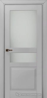 Дверь Краснодеревщик 73 3.1 (стекло матовое) с фурнитурой, Эмаль светло-серая MDF