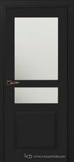 Дверь Краснодеревщик 733.1 (стекло матовое) с фурнитурой, MDF Эмаль черная
