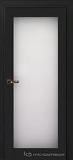Дверь Краснодеревщик 739 (стекло триплекс) с фурнитурой, MDF Эмаль черная